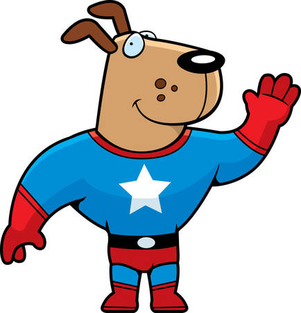 super dog: A happy cartoon superhero dog waving and smiling. Illustration