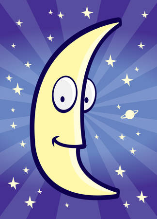 A cartoon moon smiling in the night sky.
