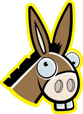 A cartoon donkey head smiling and happy.