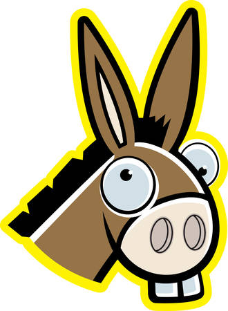 Een cartoon ezel hoofd lachend en gelukkig.