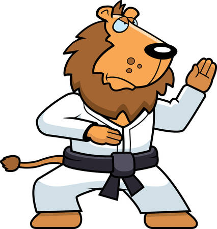 A cartoon lion doing karate in a gi.