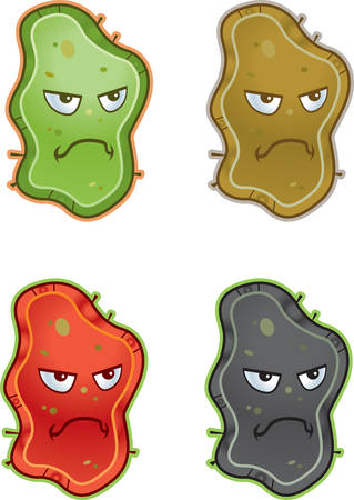 A group of cartoon germs with angry expressions. Иллюстрация