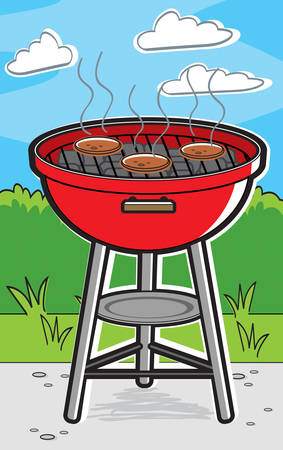 A cartoon barbecue grill with hamburgers on it. Illustration