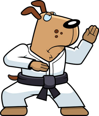 A cartoon dog doing karate in a gi. Illustration