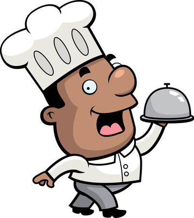 serving food: A happy cartoon chef serving food on a tray.