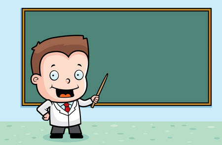 test tube baby: A cartoon boy at the chalkboard teaching class.