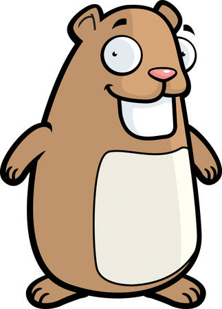 A happy cartoon hamster standing and smiling. Illustration