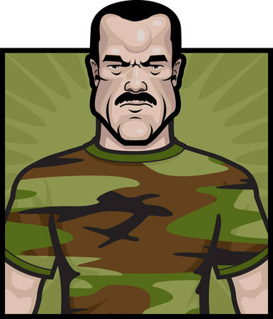 grunt: A cartoon soldier with a camouflage shirt on. Illustration