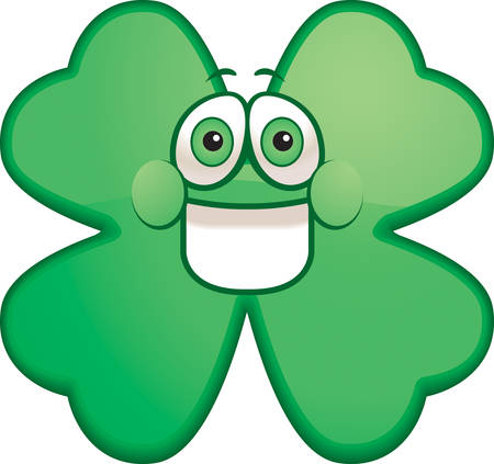 cartoon shamrock: A cartoon green shamrock smiling and happy. Illustration