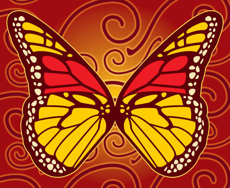monarch butterfly: A monarch butterfly floating over a designed background. Illustration