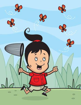 A cartoon girl chasing butterflies with a net. Illustration