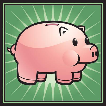 緑の背景のピンクの漫画貯金。  イラスト・ベクター素材