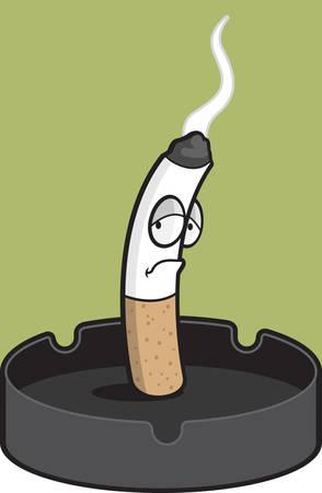 ashtray: A cartoon cigarette smoking in an ashtray.