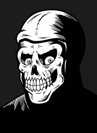 fiend: A black and white skeleton monster illustration. Illustration