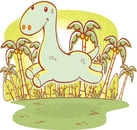 jungle jumping: A happy cartoon dinosaur running and smiling.