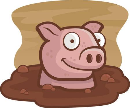 A happy cartoon pig in the mud.