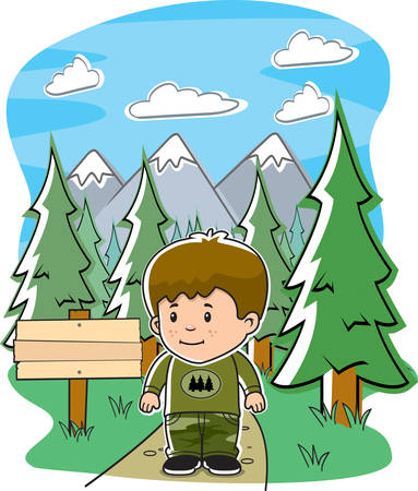 A cartoon boy on a trail in the forest.