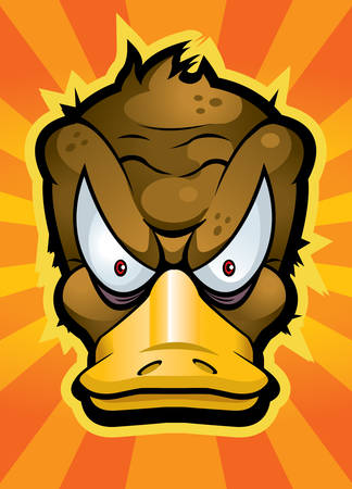 platypus: A cartoon platypus with an angry expression.
