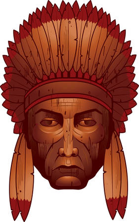 A wooden sculpture of an Indian Chief.