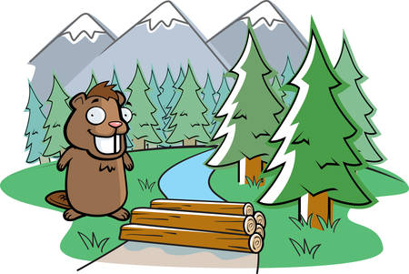 dam: A happy cartoon beaver building a dam.