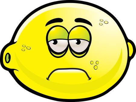 A cartoon lemon with a sad expression. Ilustração