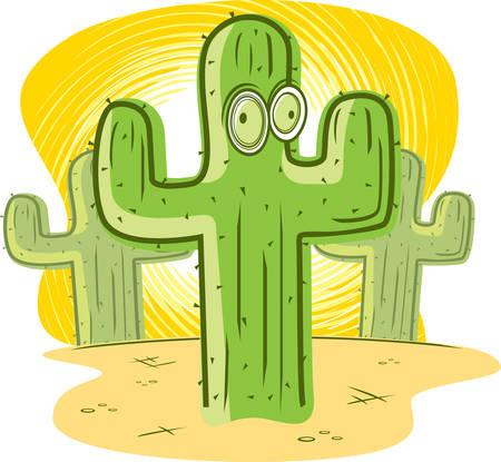 arid: A cartoon green cactus in the desert.