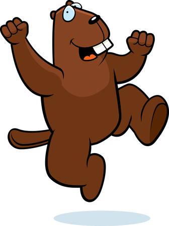 hurray: A happy cartoon beaver jumping and smiling. Illustration