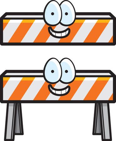 barricade: A cartoon construction barricade happy and smiling. Illustration