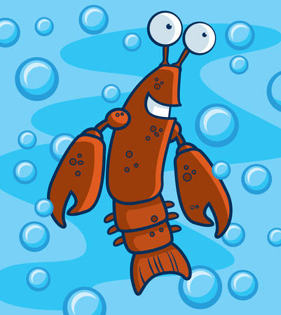 A happy cartoon crawfish underwater and smiling.