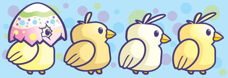 chicks: A group of cartoon little baby chicks walking.