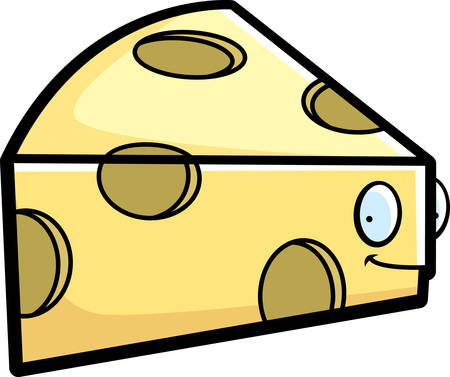 A cartoon cheese wedge happy and smiling.