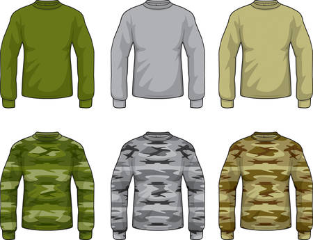 A variety of different colored camouflage shirts. Иллюстрация