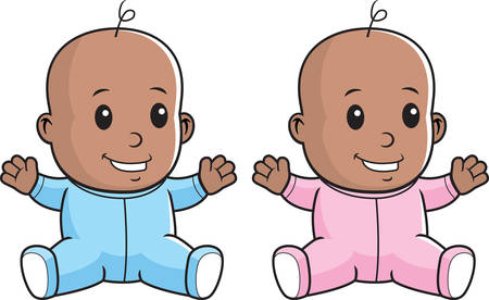 black baby boy: A happy cartoon baby sitting and smiling.