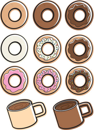 A variety of different flavored donuts and coffee.