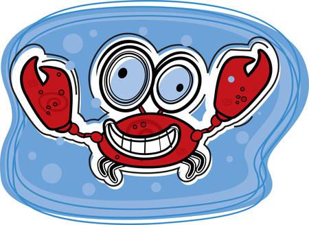 cangrejo caricatura: Un cangrejo de dibujos animados feliz y sonriente bajo el agua. Vectores