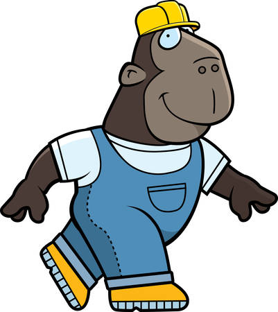 ape: A happy cartoon builder ape walking and smiling. Illustration