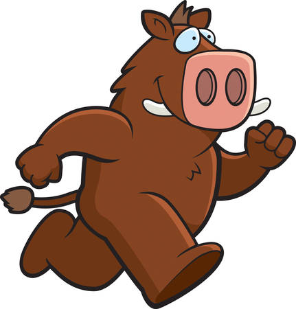 A happy cartoon boar running and smiling.