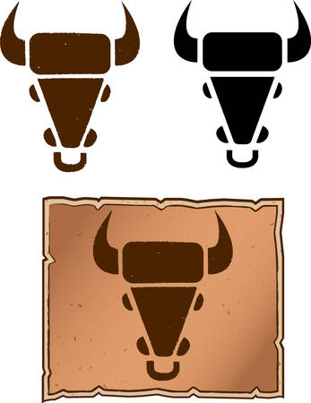 A cow head shaped cattle brand design. 向量圖像