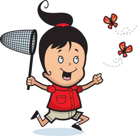 butterfly net: A happy cartoon girl chasing butterflies with a net. Illustration