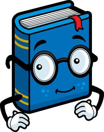 안경을 행복 한 만화 블루 책입니다. 일러스트