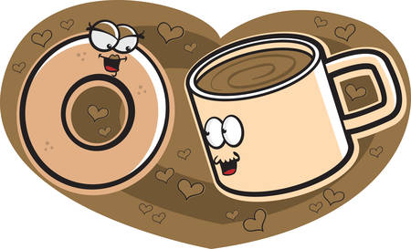 A happy cartoon doughnut and cup of coffee in love. Ilustração