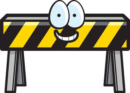 barricade: A cartoon construction barricade happy and smiling. Illustration