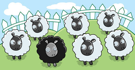 A cartoon black sheep surrounded by white sheep. Ilustração