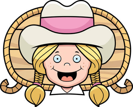 blond: A cartoon blond cowgirl happy and smiling.