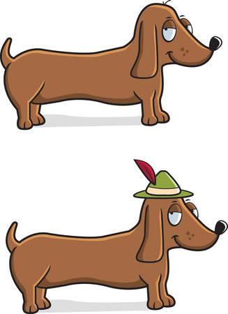 A happy cartoon Dachshund dog with an Oktoberfest hat on.