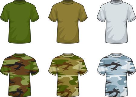 shirt: A variety of different colored camouflage shirts. Illustration