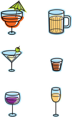 alcoholic drink: A variety of cartoon alcoholic drink icons, Illustration