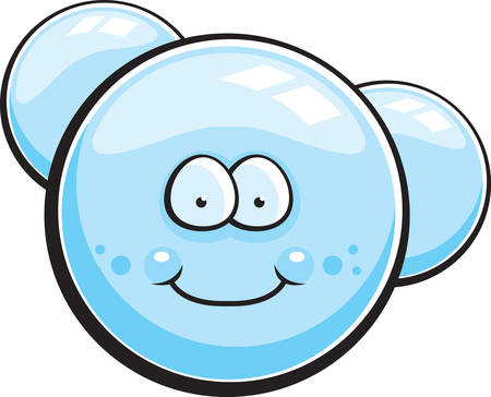 suds: A cartoon soap bubble happy and smiling. Illustration