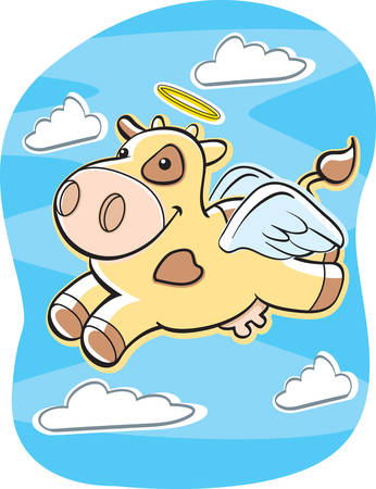 A happy cartoon holy cow flying with a halo and wings. 向量圖像