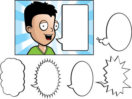 A happy cartoon child talking with a variety of word bubbles. Reklamní fotografie - 41845344
